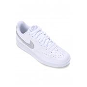 Tênis Couro Nike Court Vision Low Feminino - Branco+prata