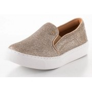 Tênis Santa Lolla slip on lumicolor dourado