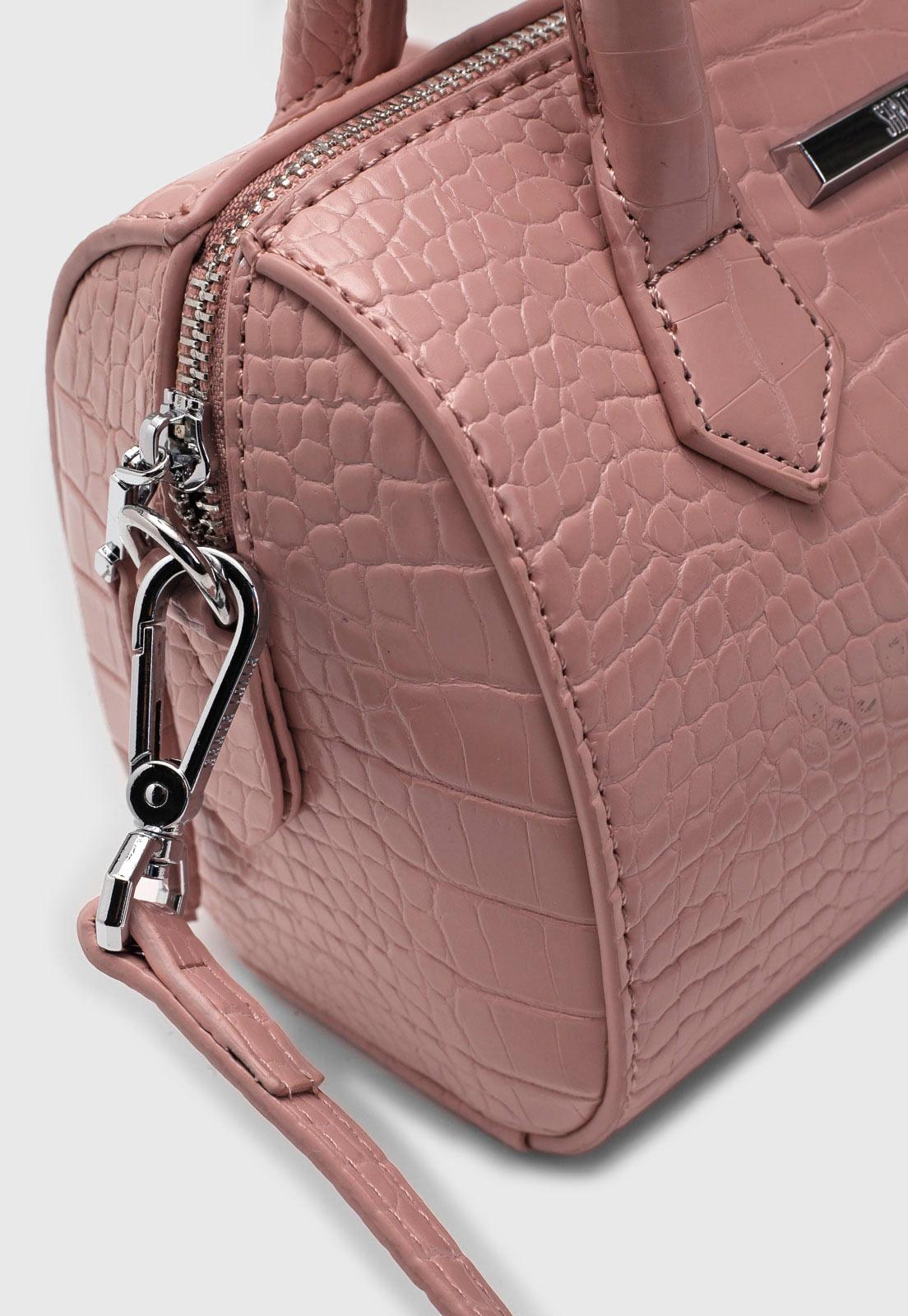 Bolsa Santa Lolla Croco Rosa Bau Pequena
