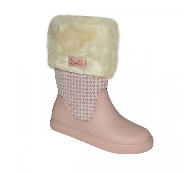 Bota Infantil Feminina Barbie Trends Rosa/Bege Grendene Kids