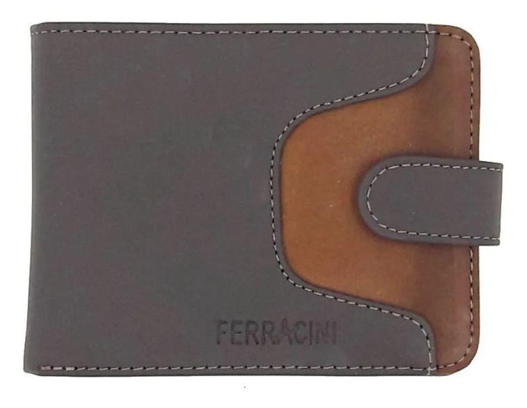 Carteira Ferracini Couro Natural Chocolate/mostarda CFB005