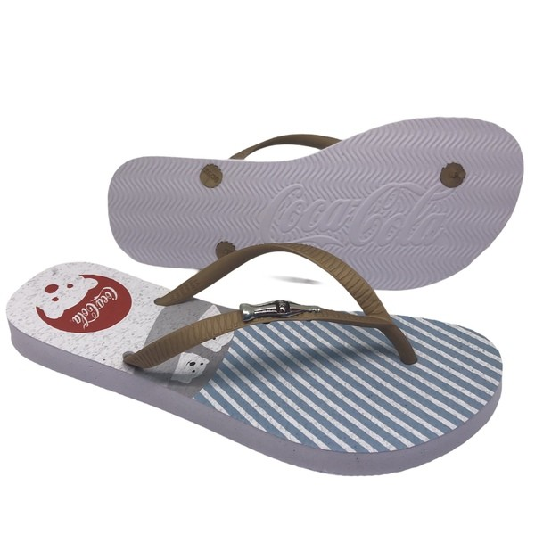 CHINELO COCA COLA ARTIC BEAR BRANCO/OURO CC3126