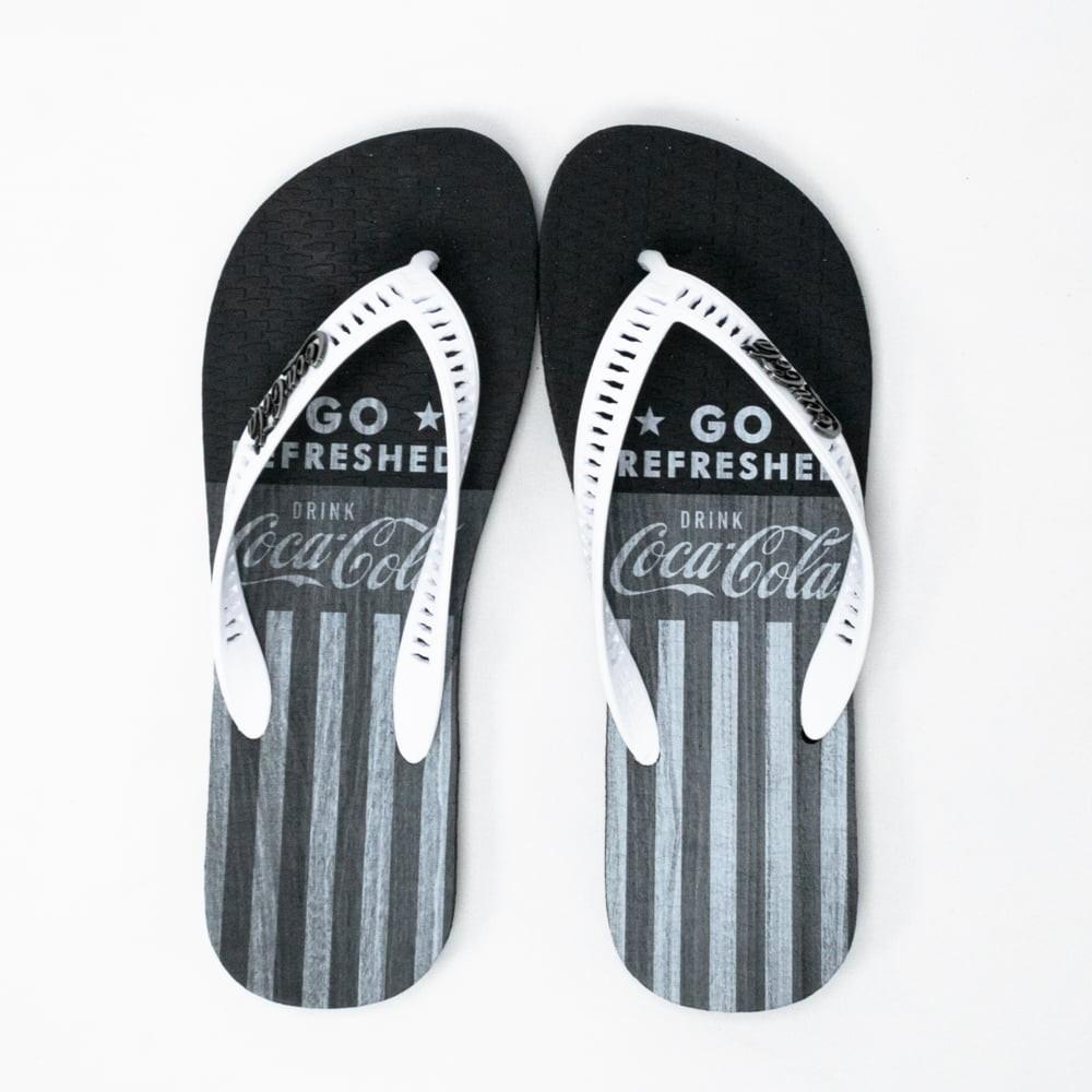 Chinelo Coca Cola CC3035 Timber preto/branco