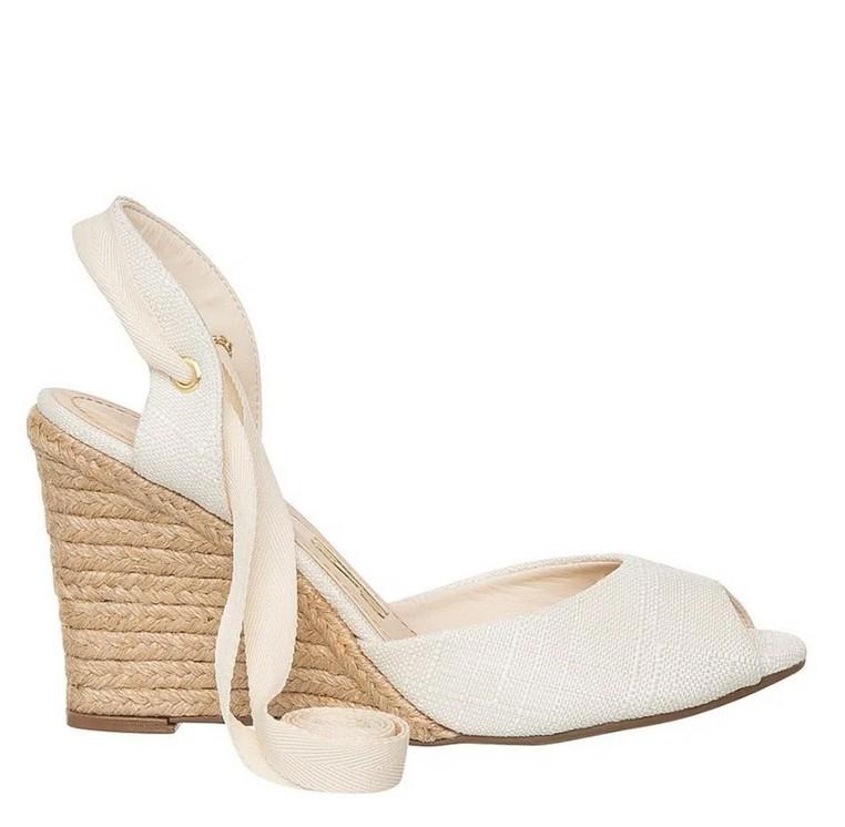 Peep toe anabela Santa lolla tecido off white 1058.2371.02D2.0056