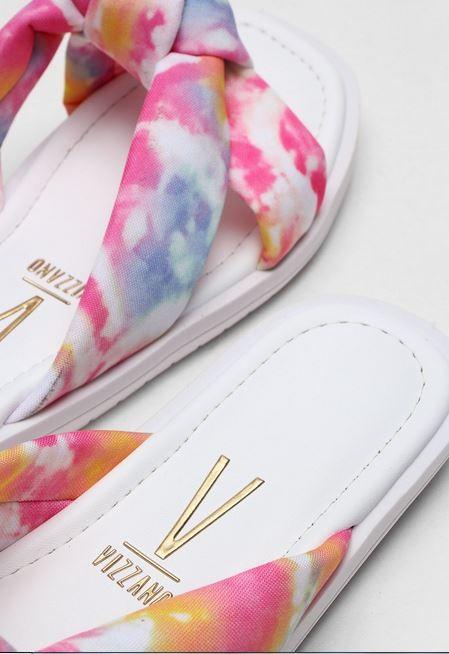 Rasteira Vizzano Tie Dye Branco/Rosa