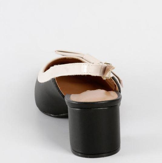 Scarpin Feminino Chanel Bicolor Preto Nude Laço Vizzano 1220228