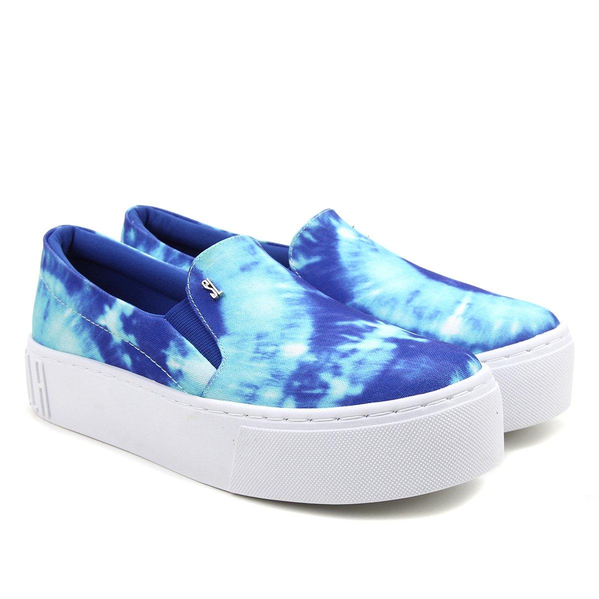 Slip On Santa Lolla Tie Dye Lona Feminino - Azul