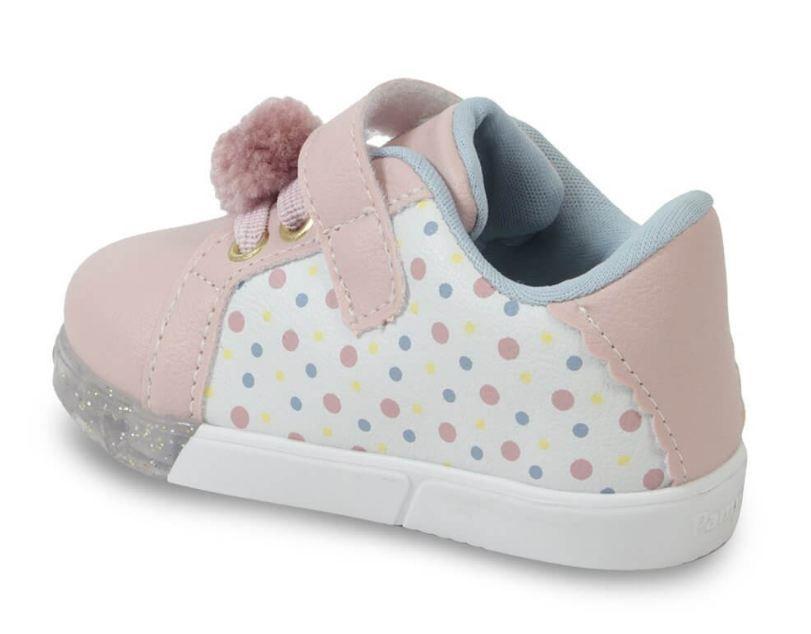 Tênis Casual Infantil Pampili LED 471030 Baby Fun Pom Pom Menina