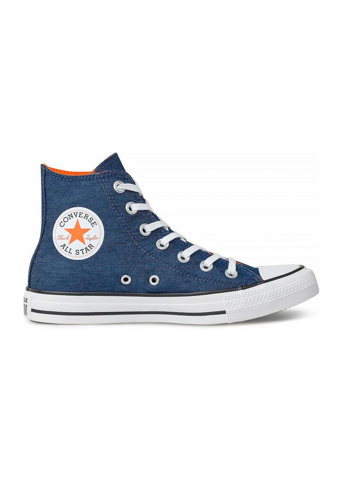 Tênis Converse Chuck Taylor All Star Hi Jeans Marinho Tangerina