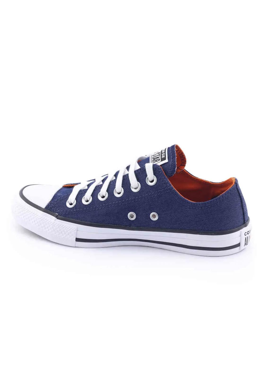 Tênis Converse Chuck Taylor All Star Ox Jeans Marinho Tangerina