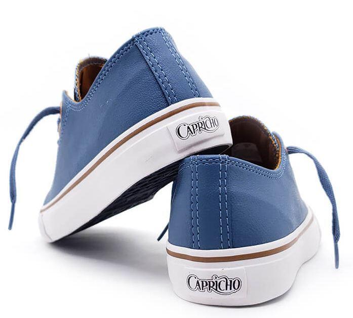 Tênis Feminino Casual Couro Capricho Like Class Anil/Cobre CP0542