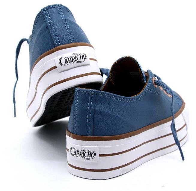 Tênis Feminino Casual Plataforma Capricho Azul/Cobre CP0599