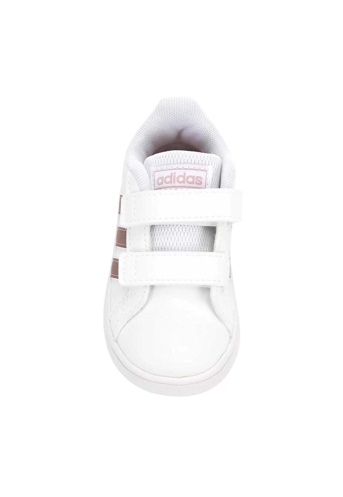 Tênis Infantil Adidas Grand Court - Branco dourado