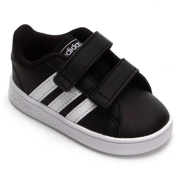 Tênis Infantil Adidas Grand Court - Preto e Branco