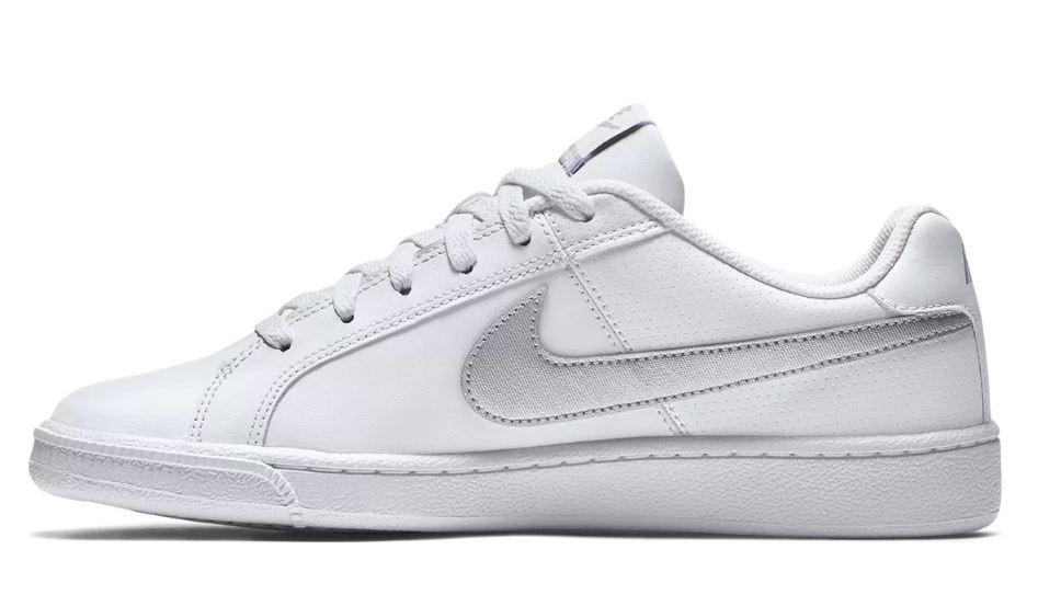 Tênis Nike Court Royale Couro Branco e prata