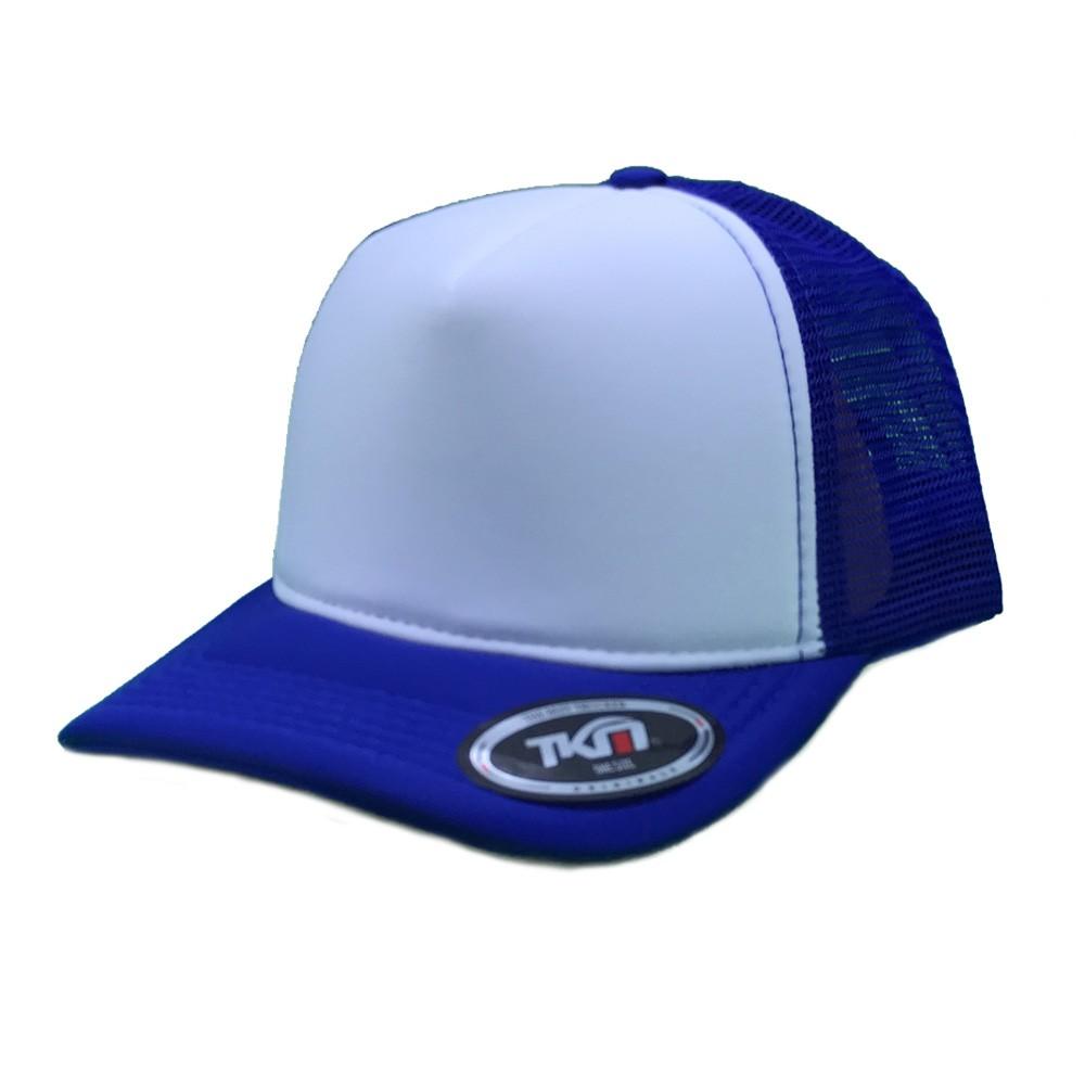 Boné Aba Curva TKN Trucker  Branco e Azul Escuro