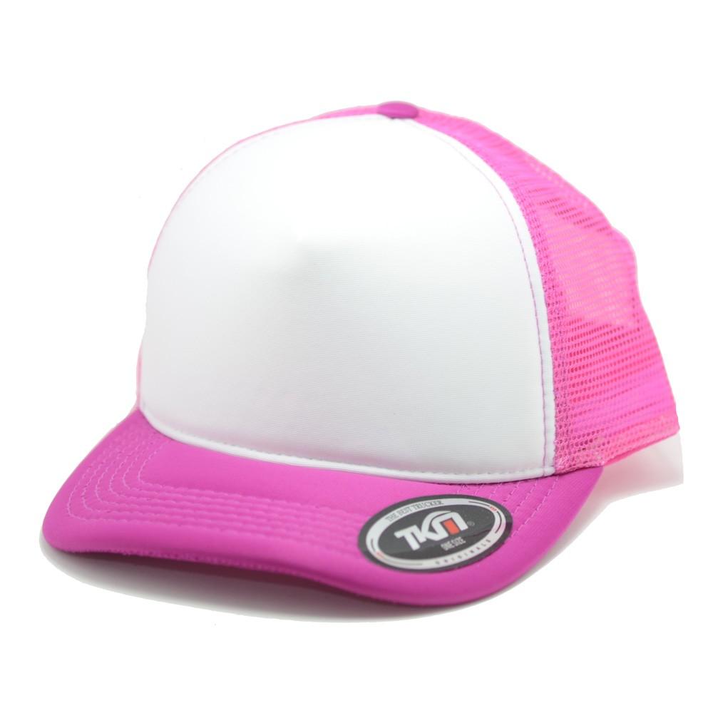 Boné Aba Curva TKN Trucker Rosa e Branco