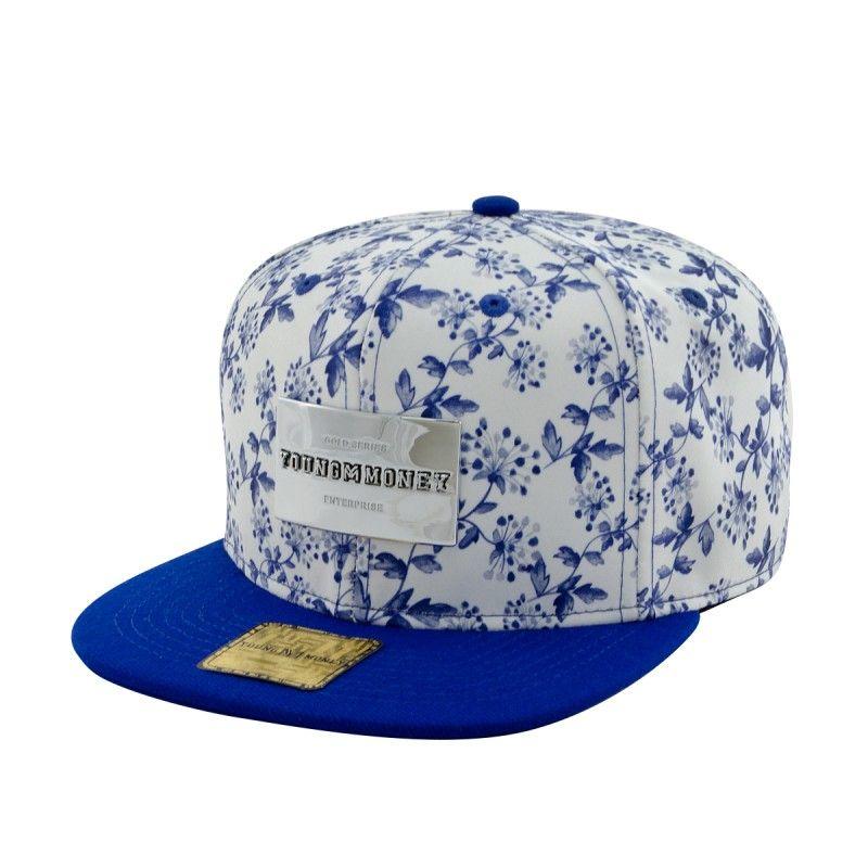 Bone Aba Reta Young Money Snapback Floral Blue Gold Series