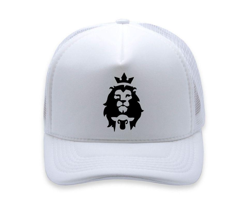 Boné Rei  Leão Aba Curva Trucker Branco