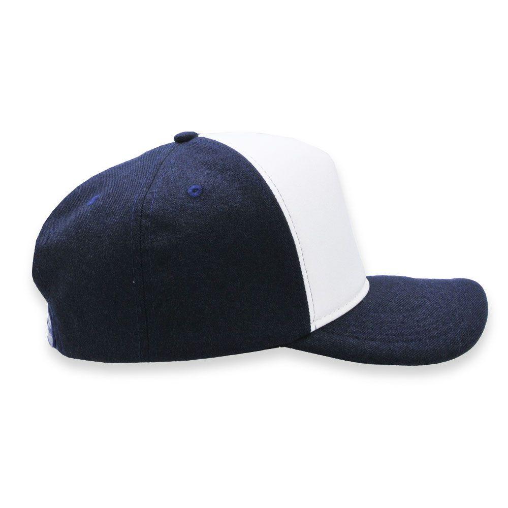 Boné Snapback Aba Curva Classic Hats Azul Marinho e Branco