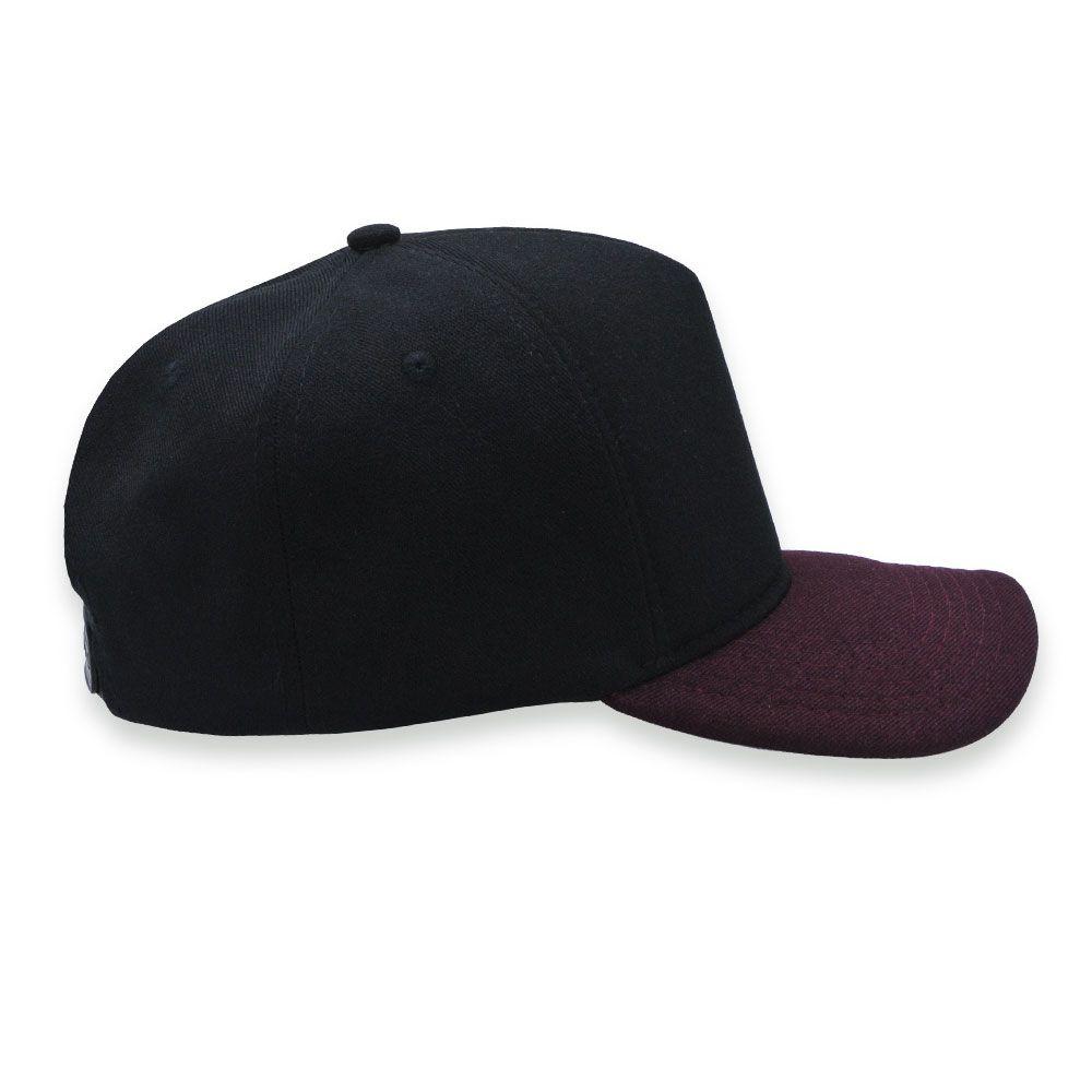Boné Snapback Aba Curva Classic Hats Preto e Bordô