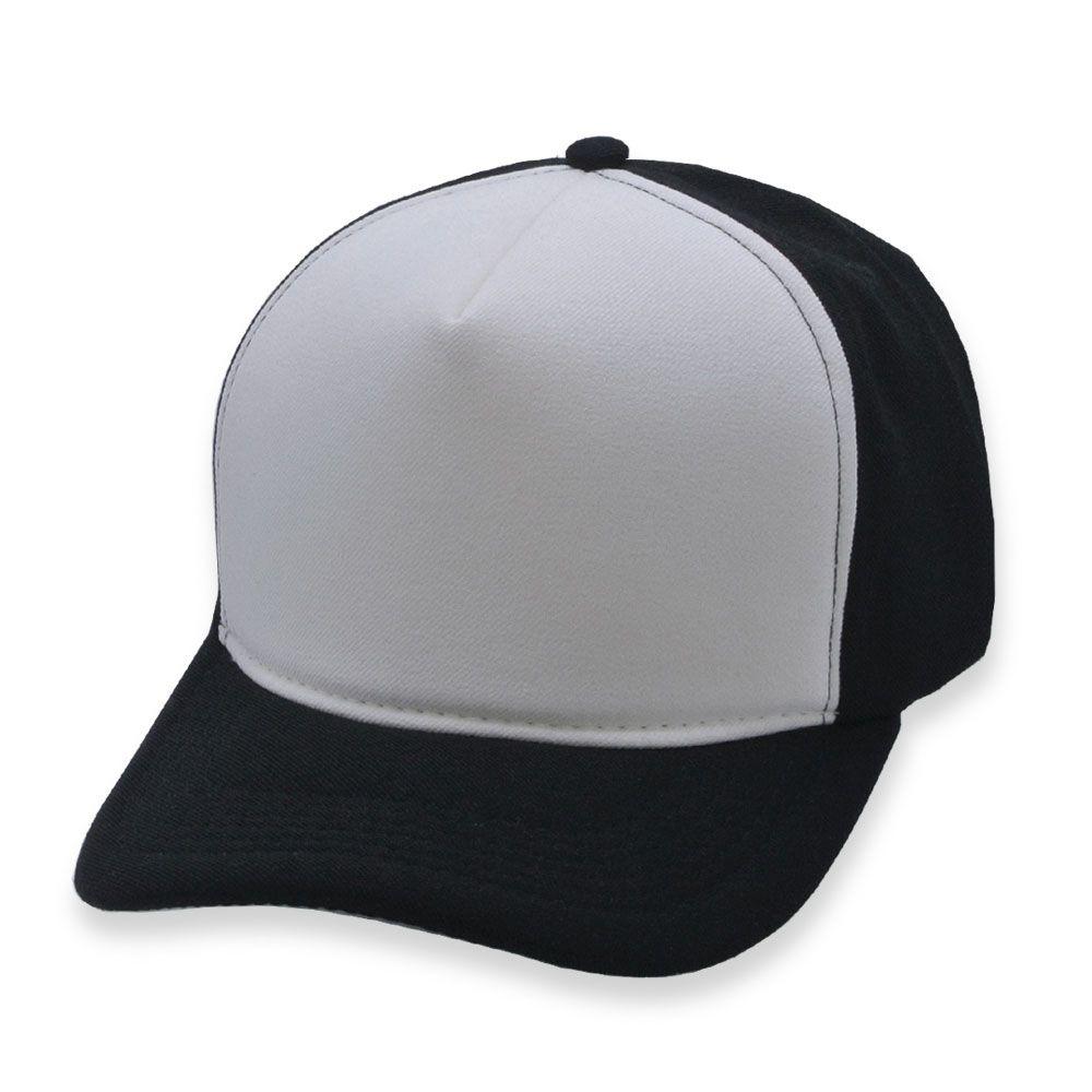 Boné Snapback Aba Curva Classic Hats Preto e Branco
