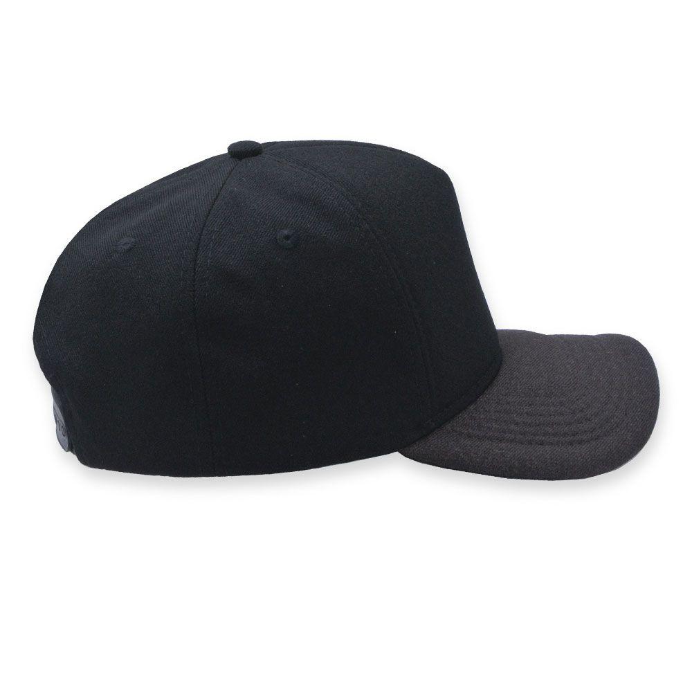 Boné Snapback Aba Curva Classic Hats Preto e Mescla Marrom