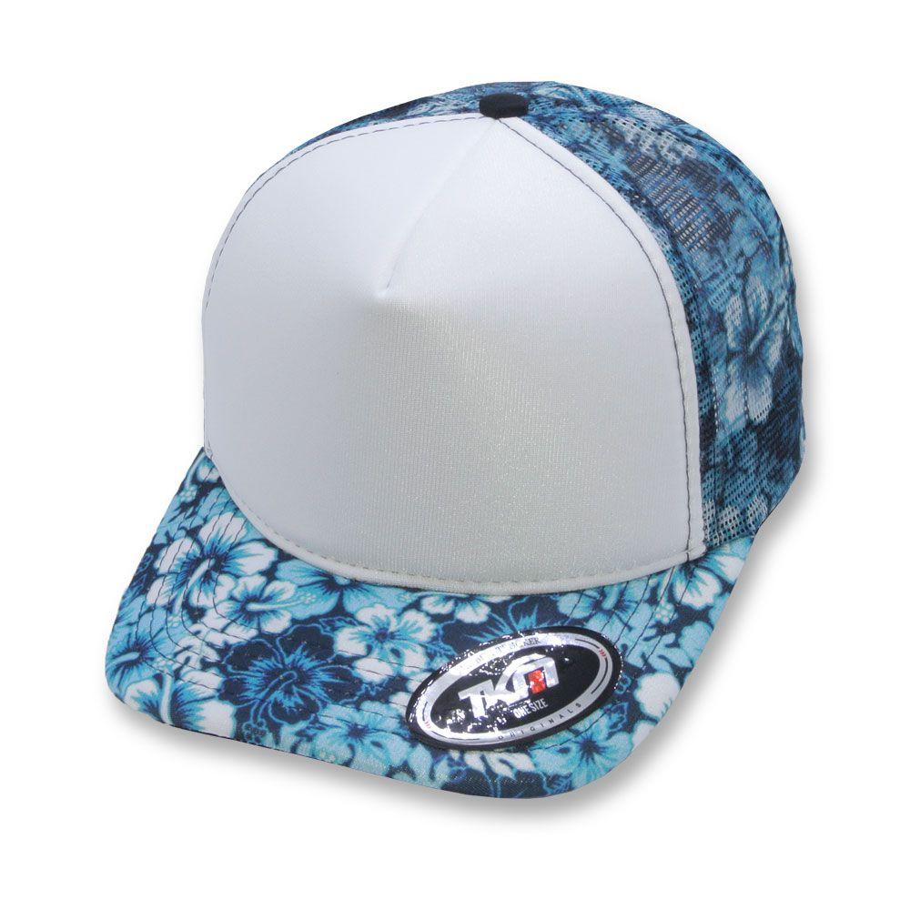 Boné Tkn Trucker Aba Curva Floral Hibisco Azul / Branco