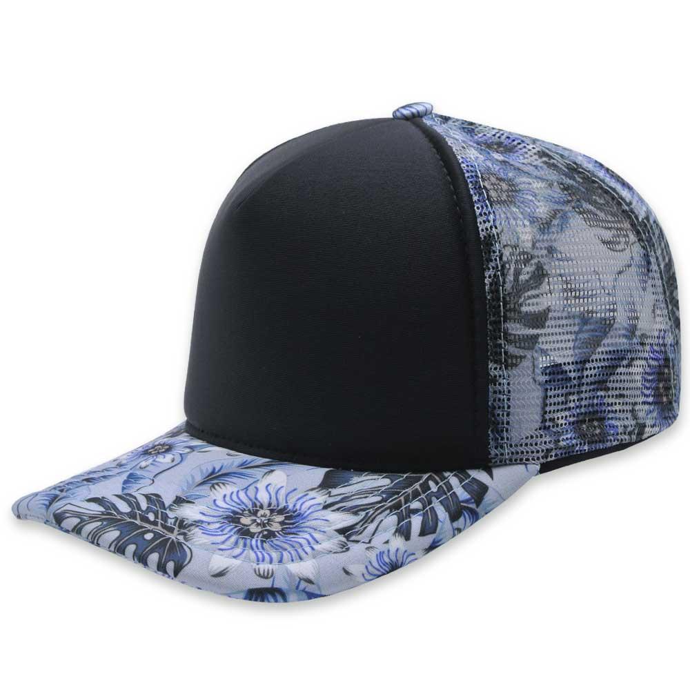 Boné  Trucker Aba Curva Tkn Floral Azul A