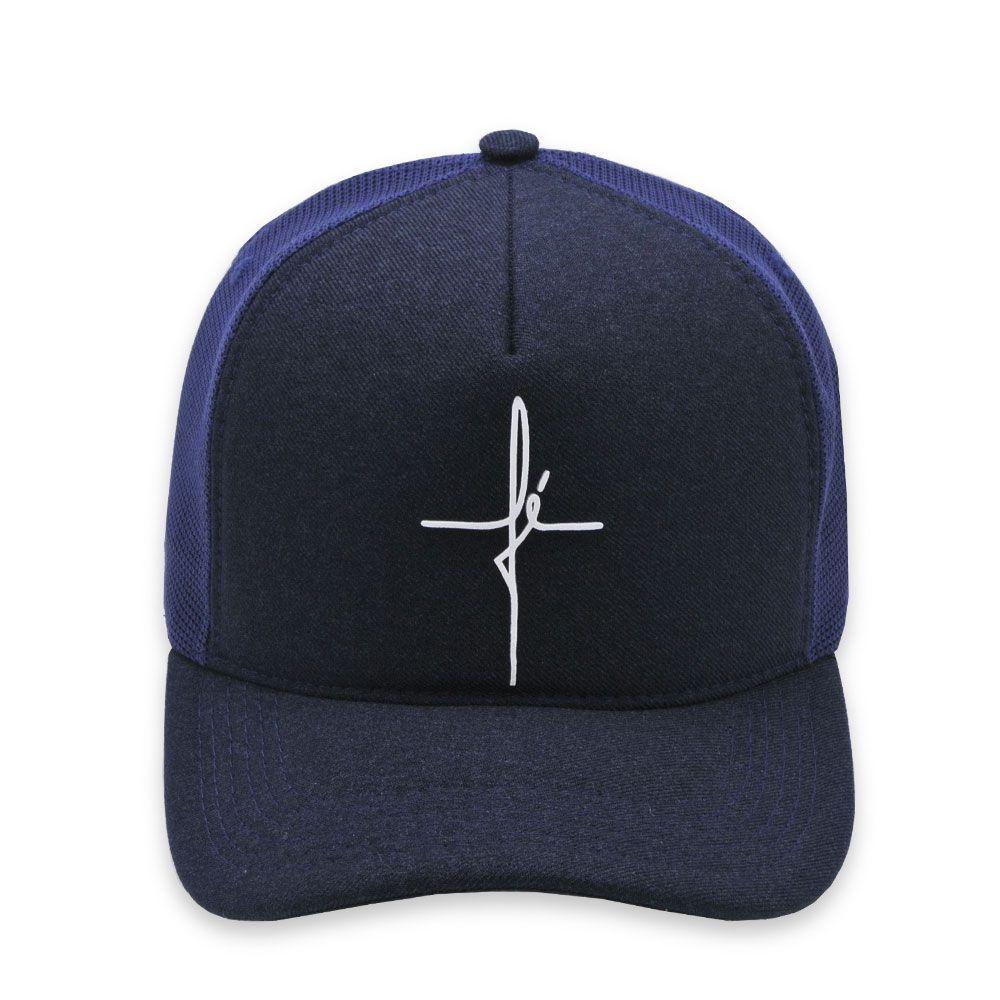 Boné Trucker Aba Curva Classic Hats Fé Azul Marinho