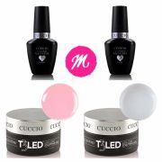 Gel T3 Led Clear + T3 Pink + Prep Cuccio + Fuse Cuccio 13ml