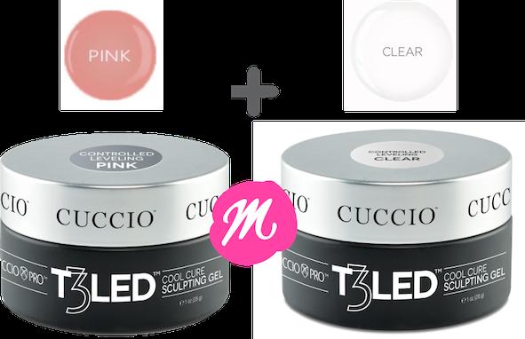 1 Gel T3 Cuccio Controlled Pink E 1 Clear 28gm Uv Led