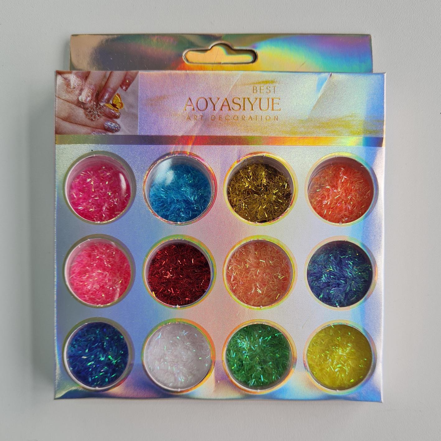 Glitter Nail Art diversos com 12 unidades