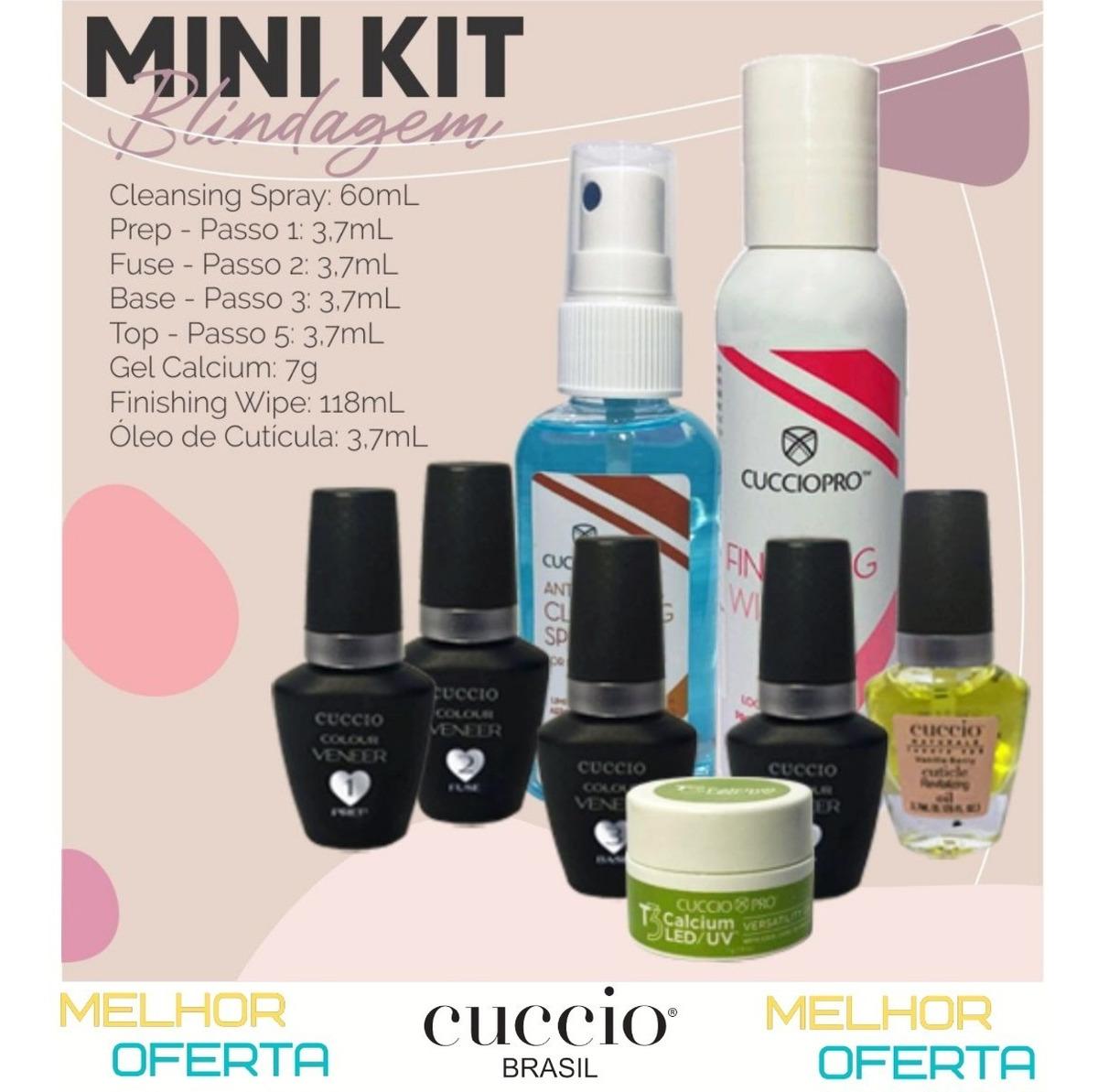 Mini Kit Cuccio Blindagem Diamante + Sany Spray + Calcium + Finishing Wipe