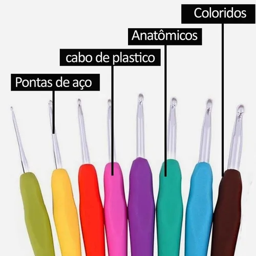 Kit Agulhas Croche Soft Cabo Emborrachado 8 Peças 2 - 5,5 Mm