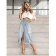 SAIA DENIM MIDI COM FENDA