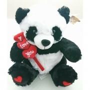Panda de Pelucia com Coraçãozinhos Espetados