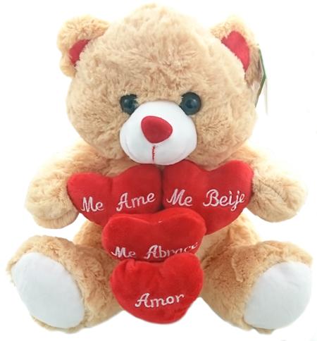 Urso Corações Bordados