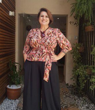 Blusa Cachecouer Estampada Plus Size