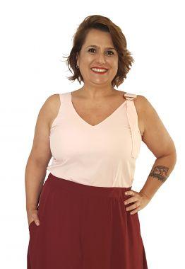 Blusa Regata com Fivela Rosa Plus Size