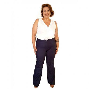 Calça com Leve Flare em Algodão Plus Size Azul Marinho