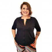 Camisa Plus Size Malha 3/4 Preta