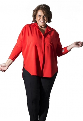 Camisa Plus Size Manga Longa Vermelha Crepe Georgete