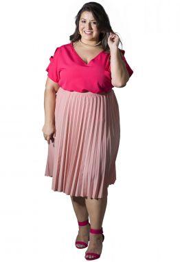 Saia Plus Size Plissada Rosa