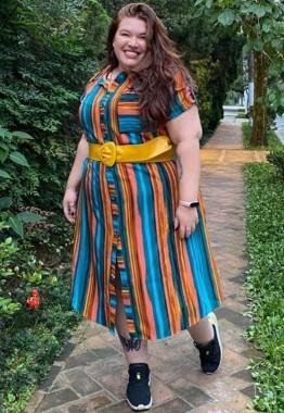 Vestido Curto Plus Size Chemise Listrado
