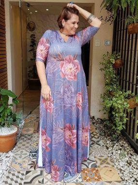 Vestido Longo Estampado Marinho Plus Size