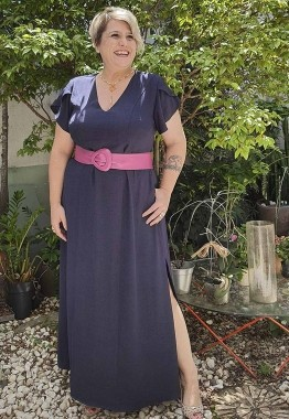 Vestido Longo Plus Size Marinho com Manga Curta