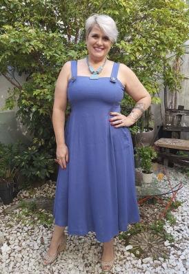 Vestido Midi Plus Size Lastex Azul