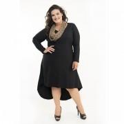 Vestido Mullet Preto Plus Size Tecido Poliéster e Elastano