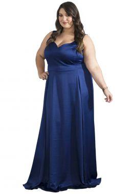 Vestido Plus Size Longo Marinho Alças